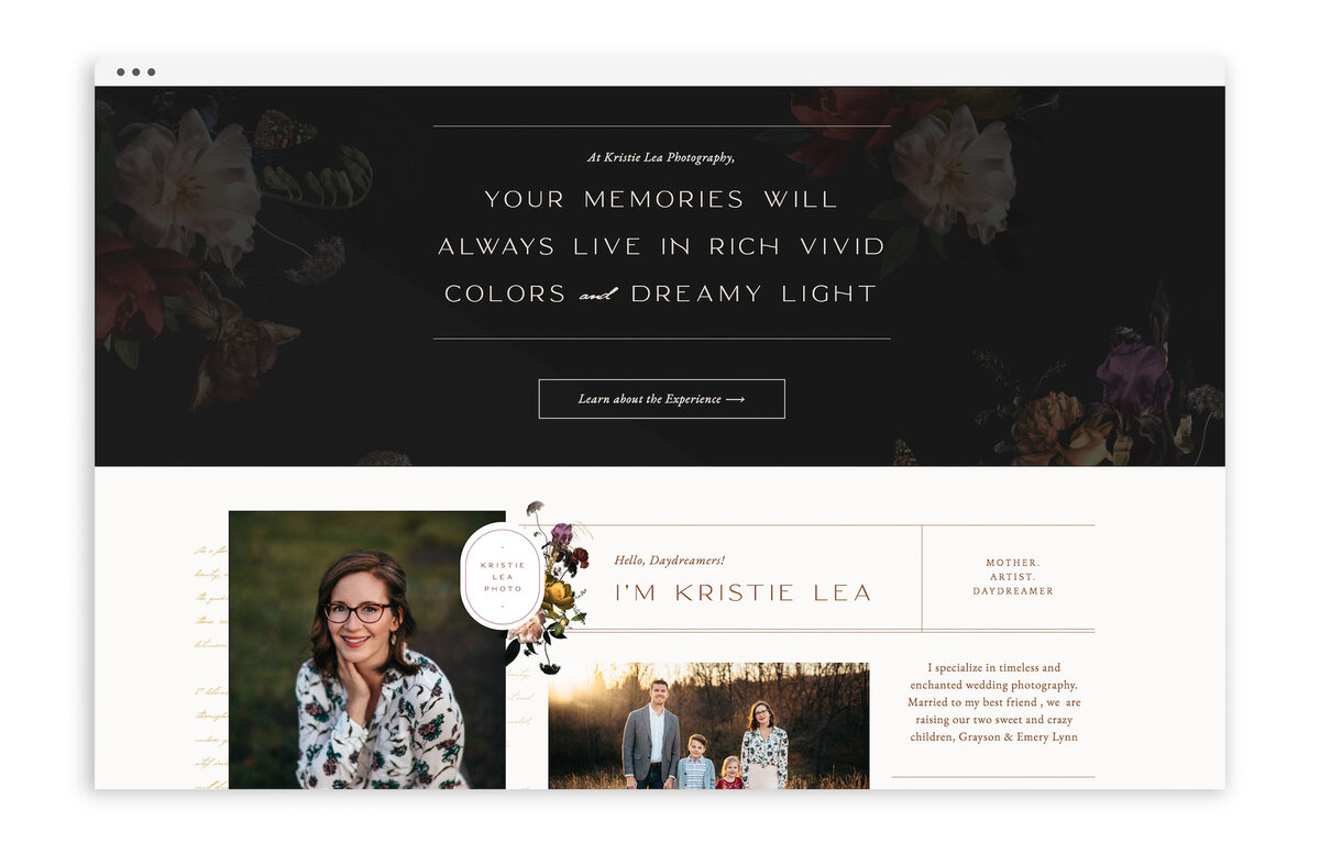 Kristie Lea Photography - Custom Brand and Showit Website Design by With Grace and Gold - Showit Designer, Designers, Theme, Themes, Template, Templates - 6
