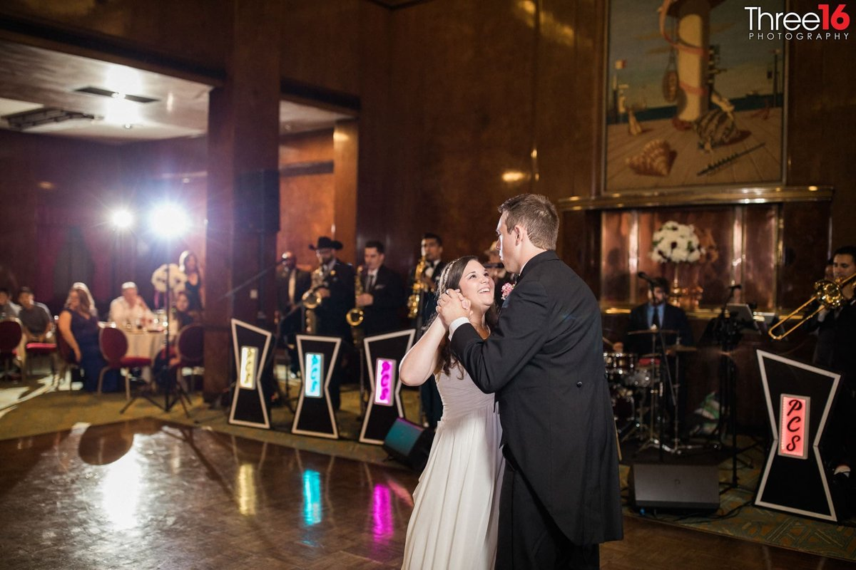 Bride and Grooms first dance during a Queen Mary reception