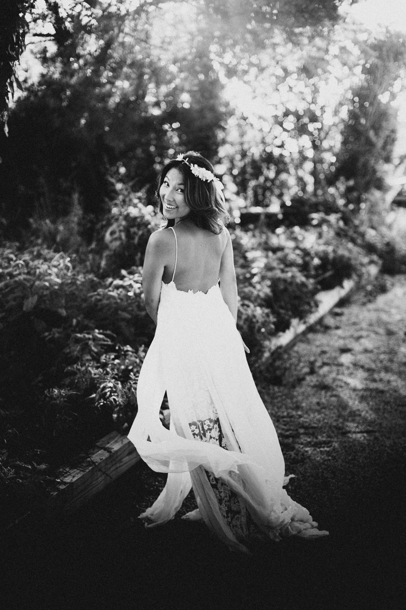 black and white wedding photo of casula boho bride