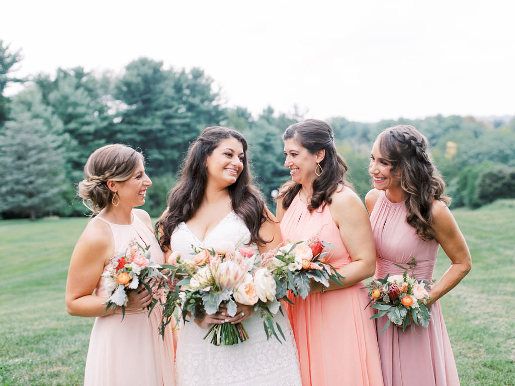 bride and bridesmaids greenville country club wedding florist