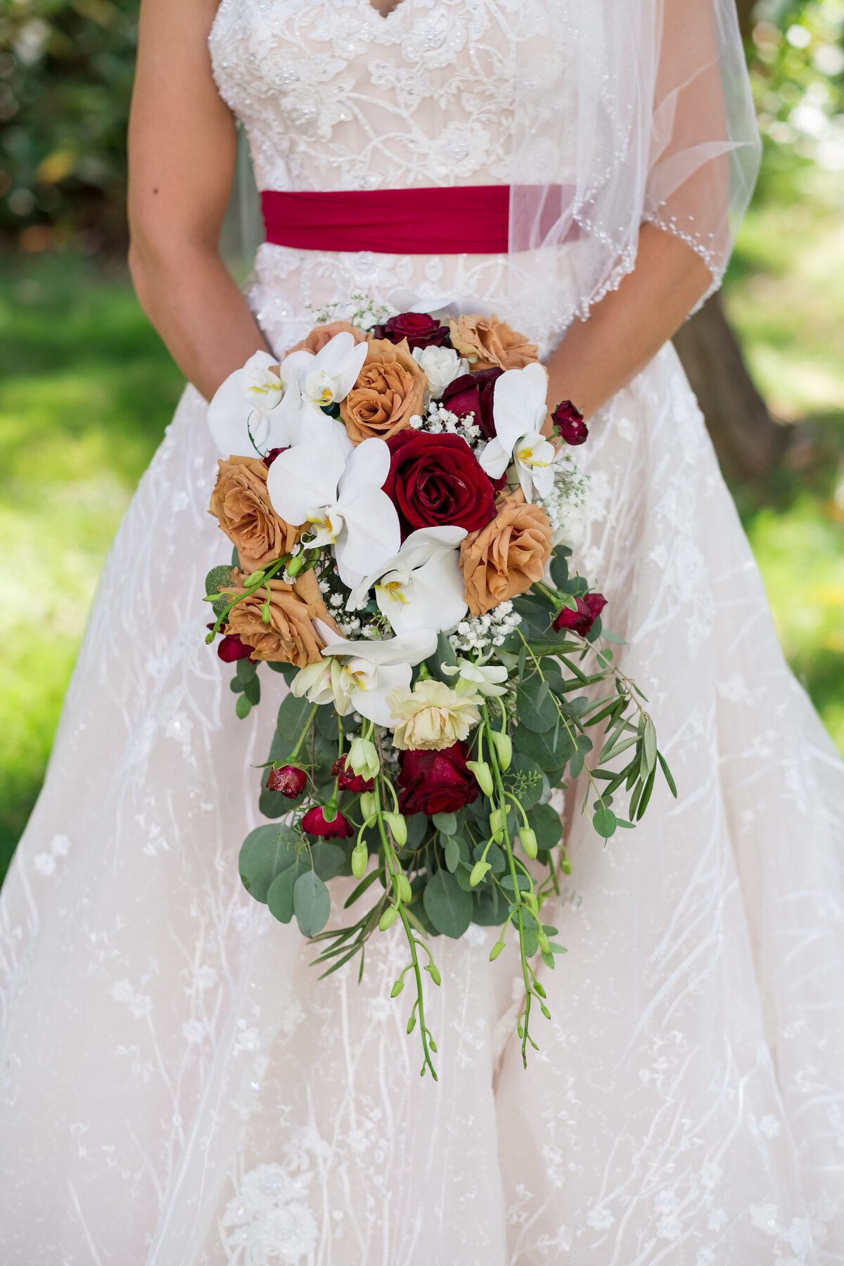 Orchid, roses, bridal bouquet, Bend Oregon florist