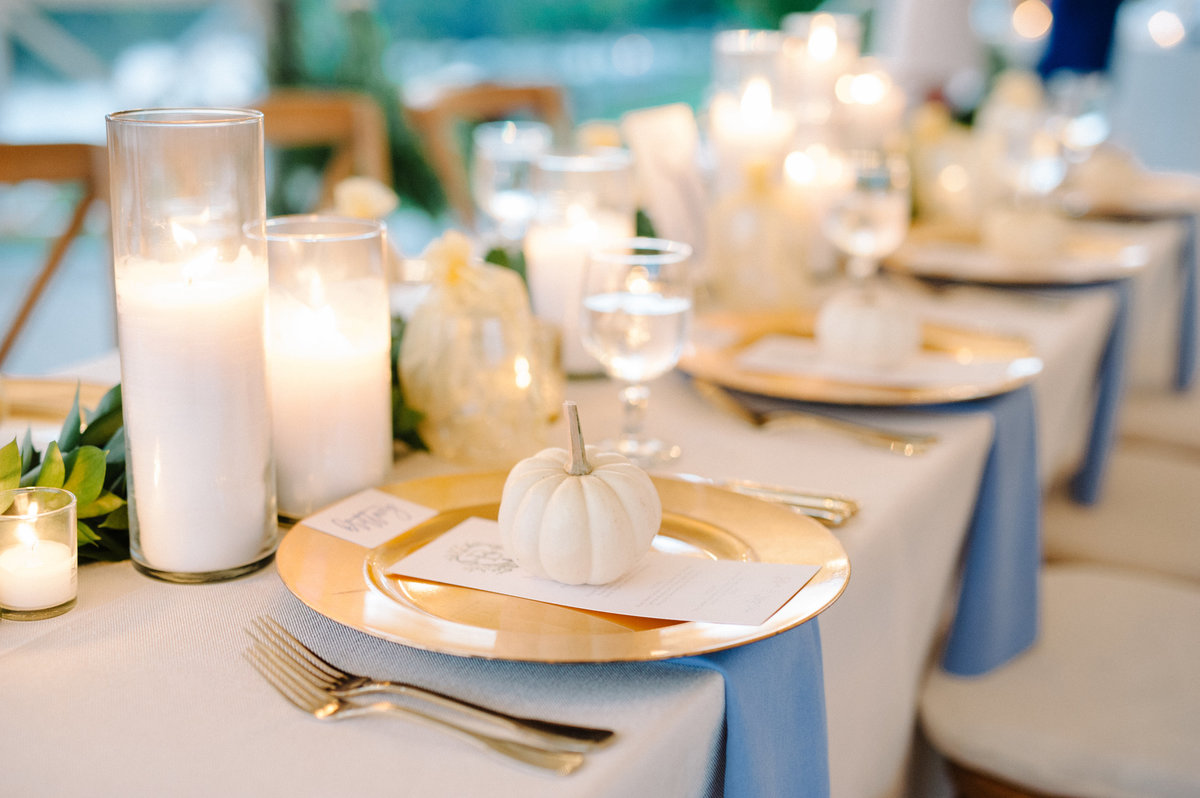 Dusty blue and white pumpkin wedding decor