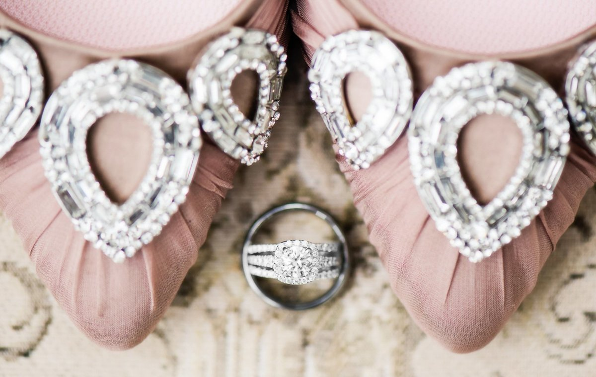 Romantic and vintage Colorado Manor House Wedding featuring bride's wedding ring and shoes.