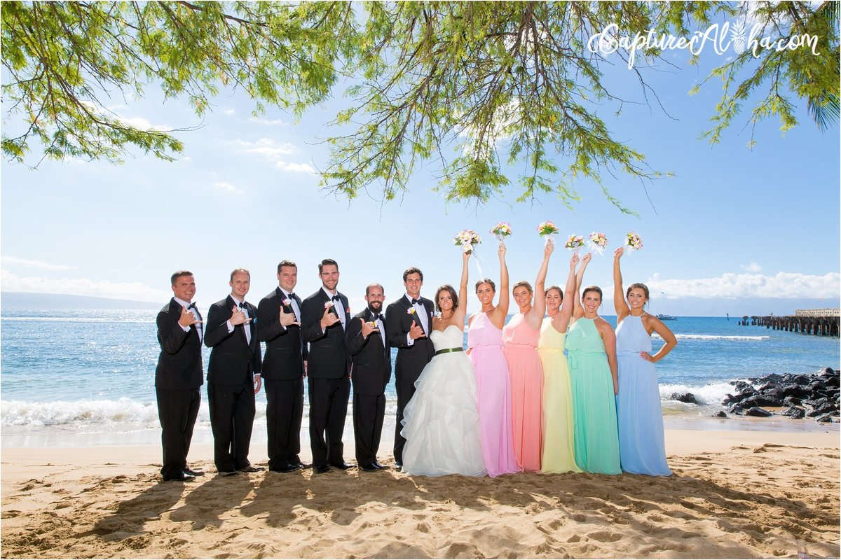 Capture Aloha Photography  Bride and Groom with Bridesmaid and Groomsman at beautiful beach