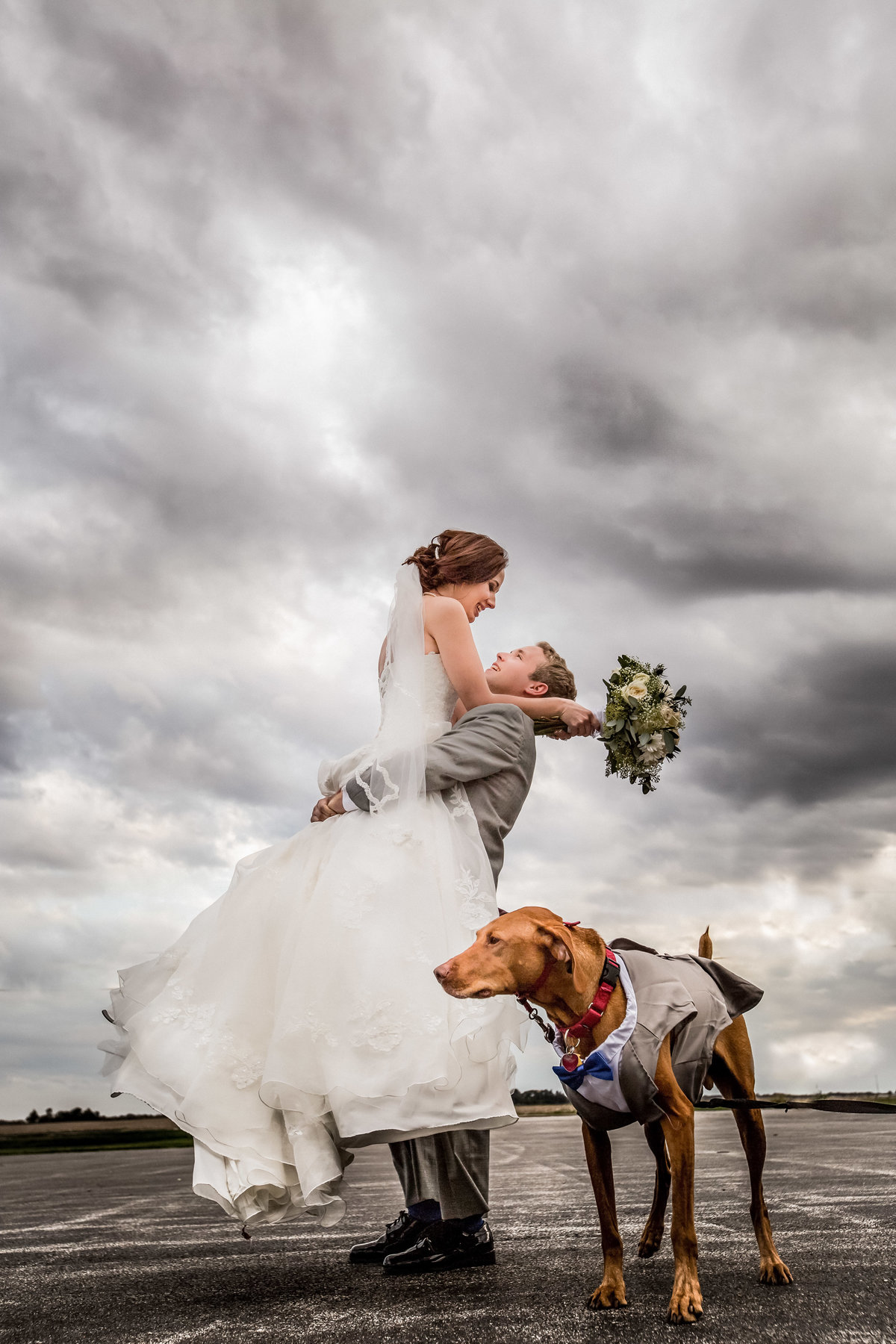 wedding couple with dog - quad cities wedding