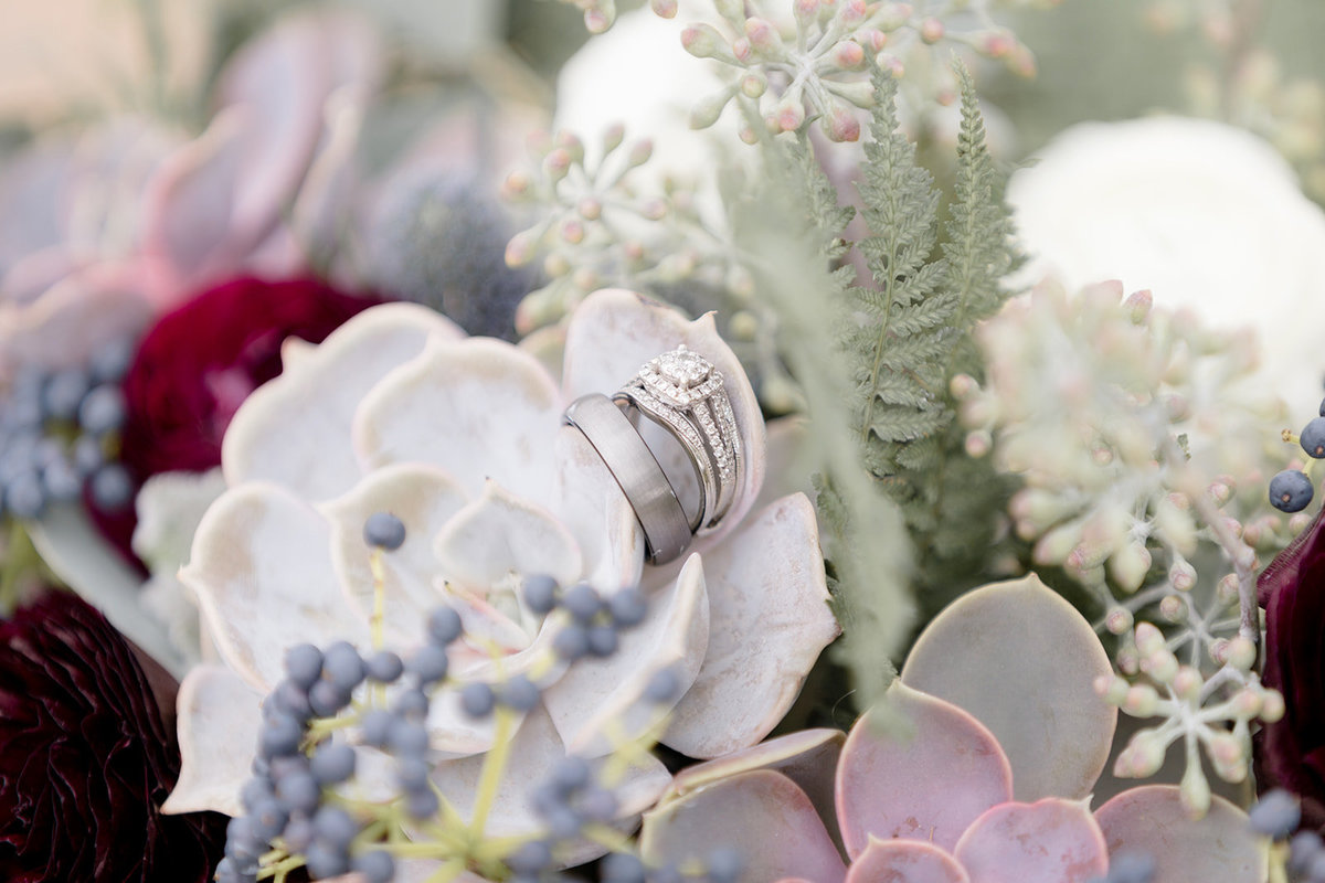 Wedding Rings and Bands in Succulent Wedding Bouquet
