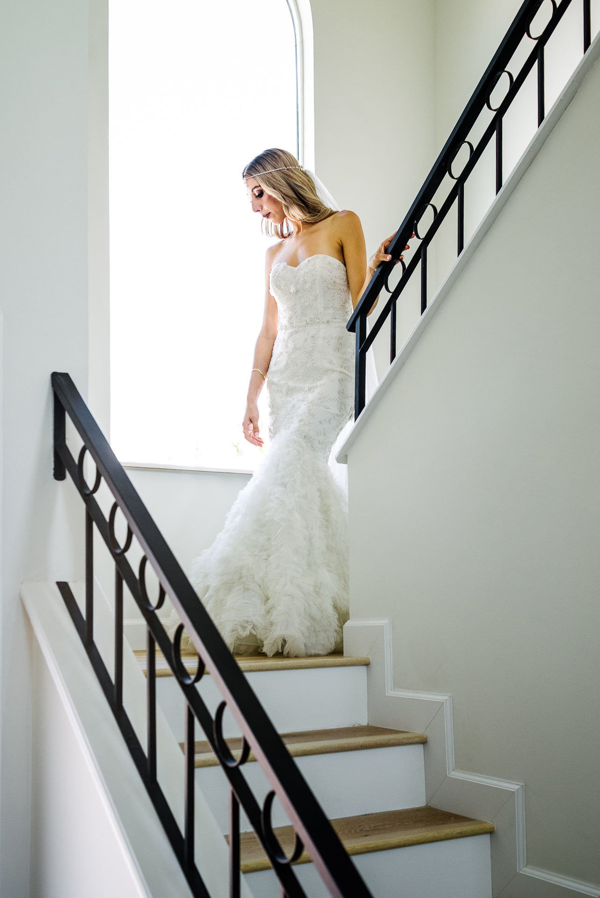 bride's portrait in stairs  in el paso by stephane lemaire photography
