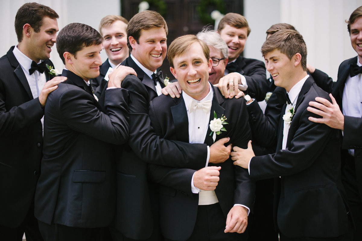 Groomsmen Group Hug UGA Chapel