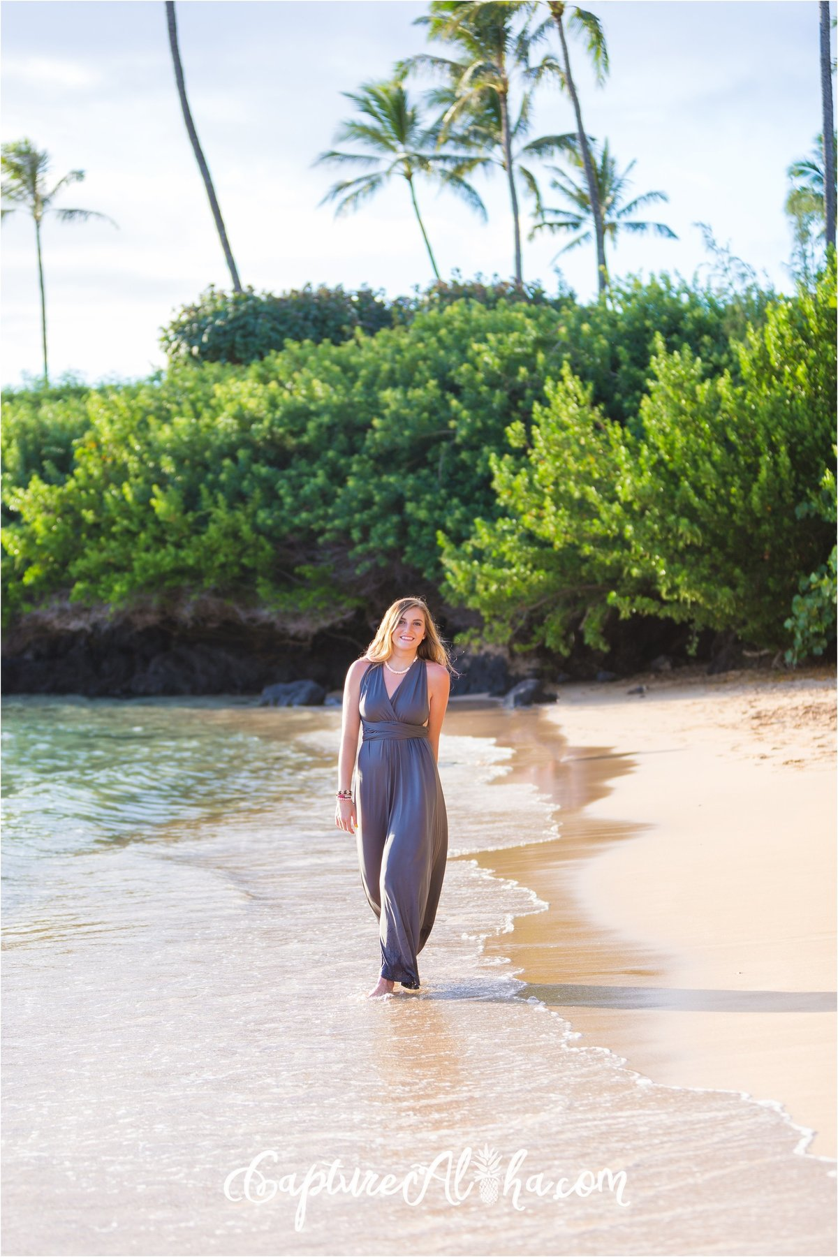Capture Aloha Photography, Maui Senior Portrait Photography walking beautiful lady on the seashore