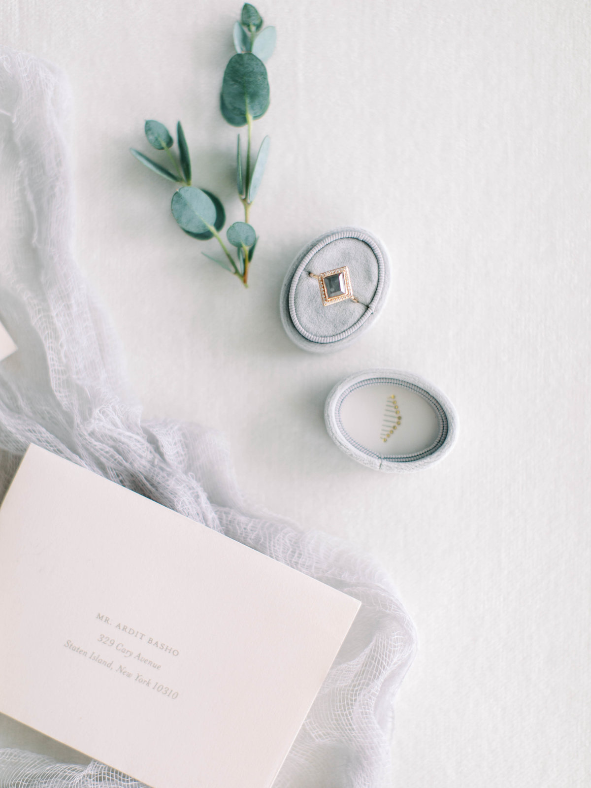 Wedding invitation and engagement ring flat lay photography for wedding