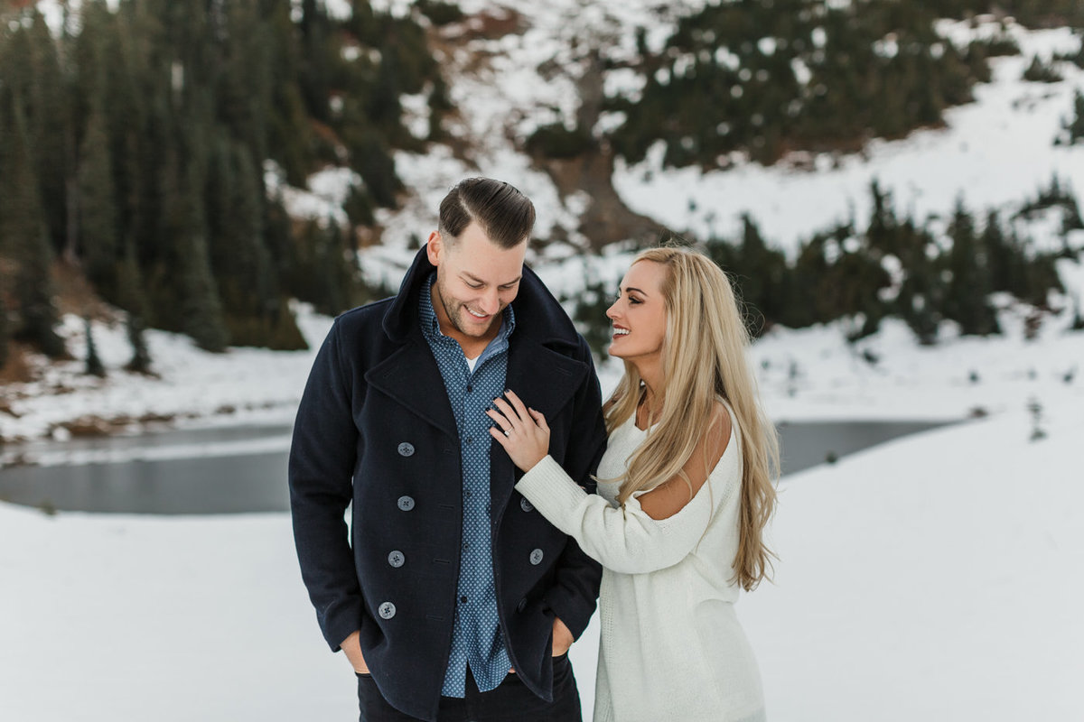 Snowy Mount Rainier Engagement Photos-22