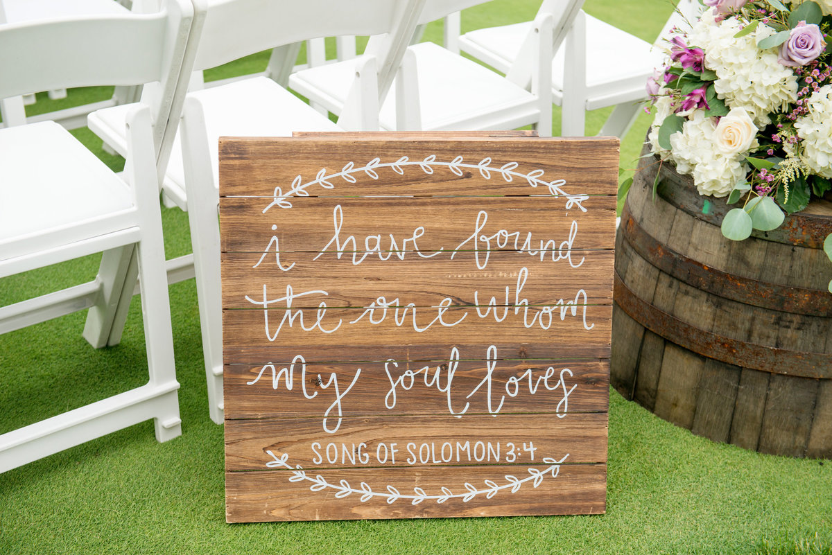 ceremony sign at Willow Creek Golf and Country Club wedding
