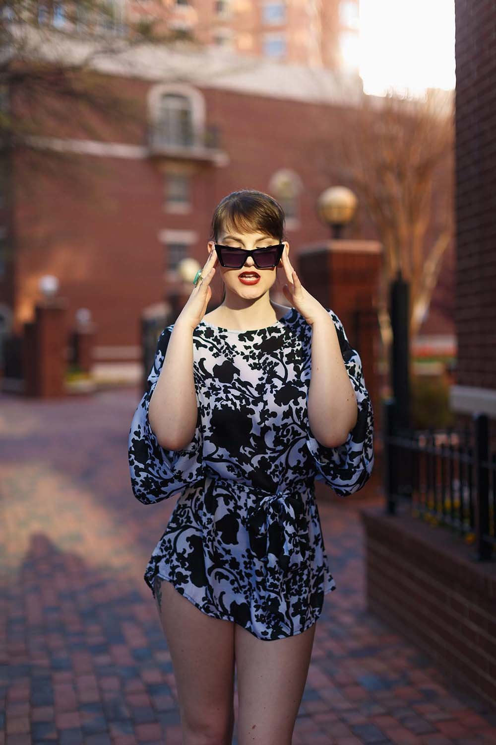 high-fashion-model-80ies-inspired-romper-statement-signature-pose-breaking-tradition-alexandria-virginia