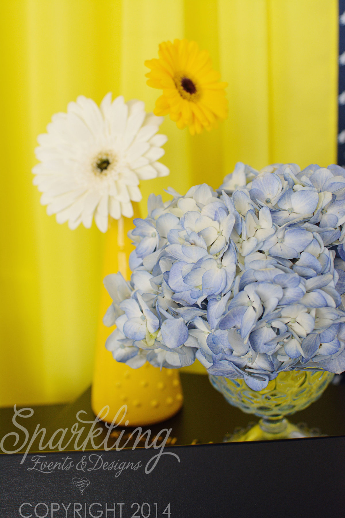 Sparkling Events Designs - Yellow White and Blue Flower Arrangements