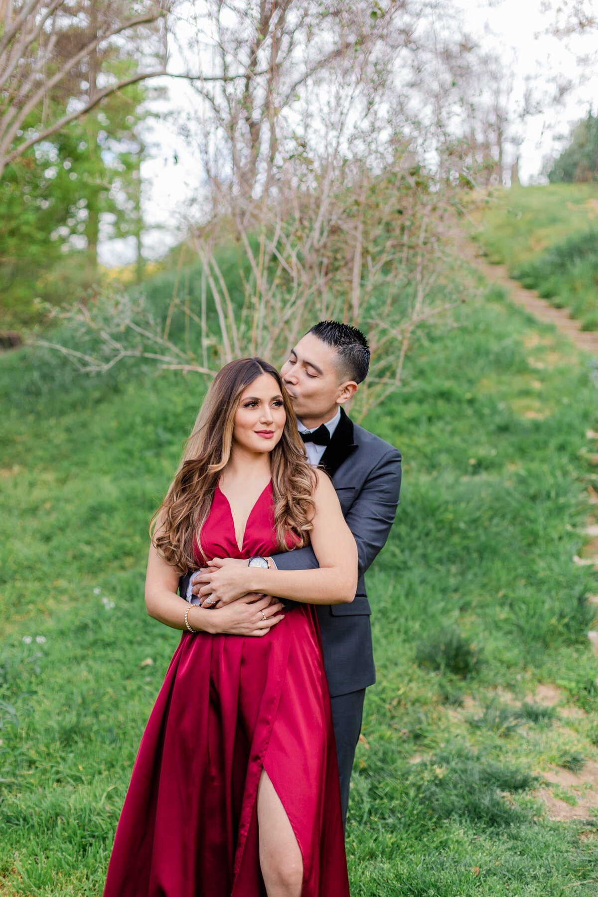 UC Riverside Botanical Gardens, Engagement Photography, Riverside Phototgrapher, Garden Engagement, Couple Photography, Red Dress-3