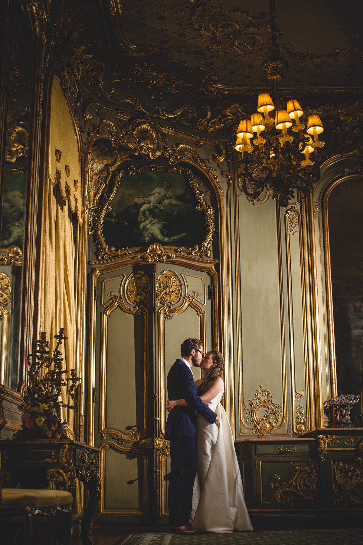 bride and groom in the drawing room at cliveden house wedding
