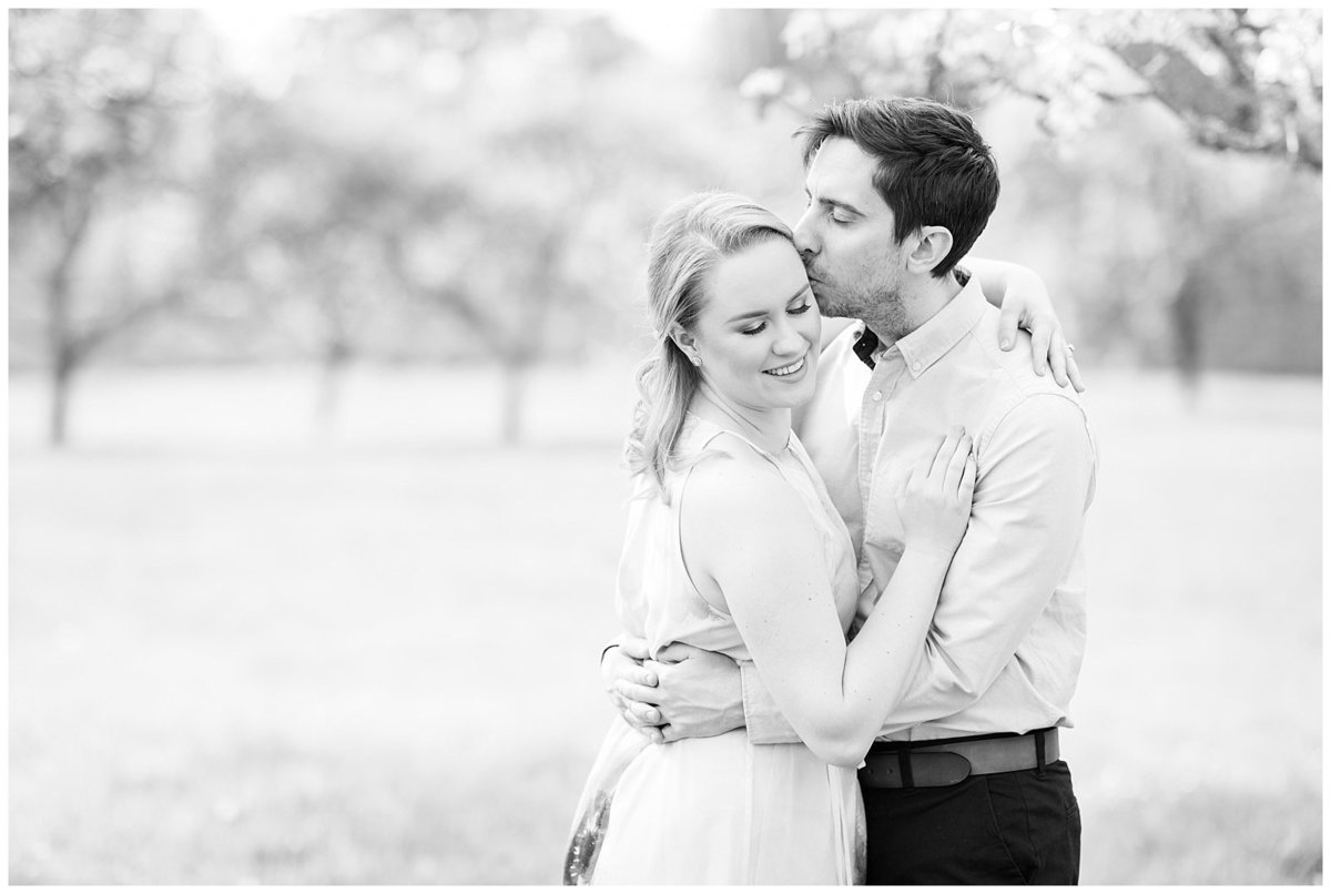 black and white engagement portrait melrose