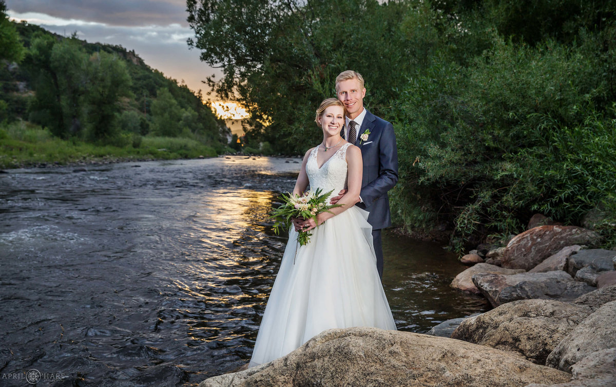 Steamboat Springs Colorado Wedding Photography Yampa River at Sunset