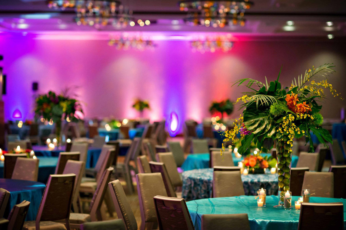 corporate holiday party with tropical theme