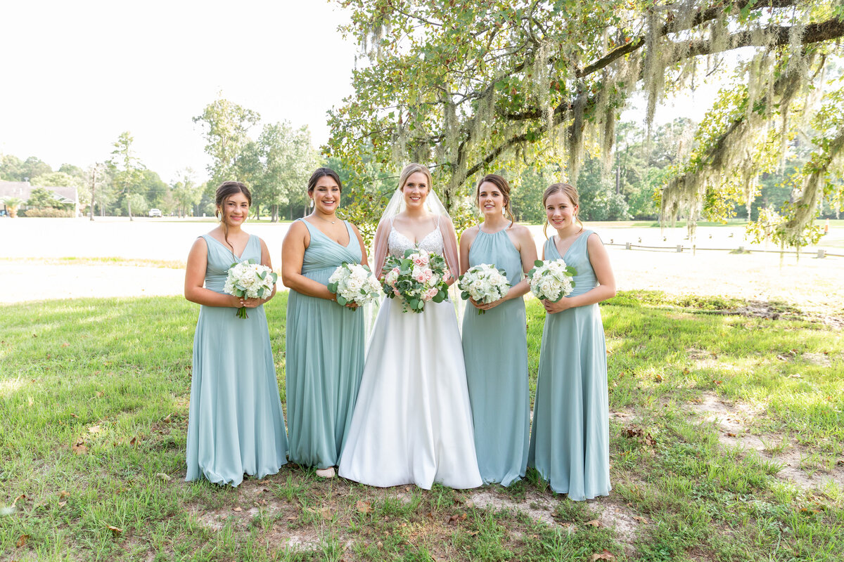 Bride and Bridesmaids Classic Portrait at TownHall Texas