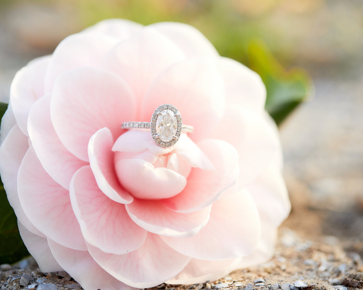 oval cut diamond engagement ring in a pink flower