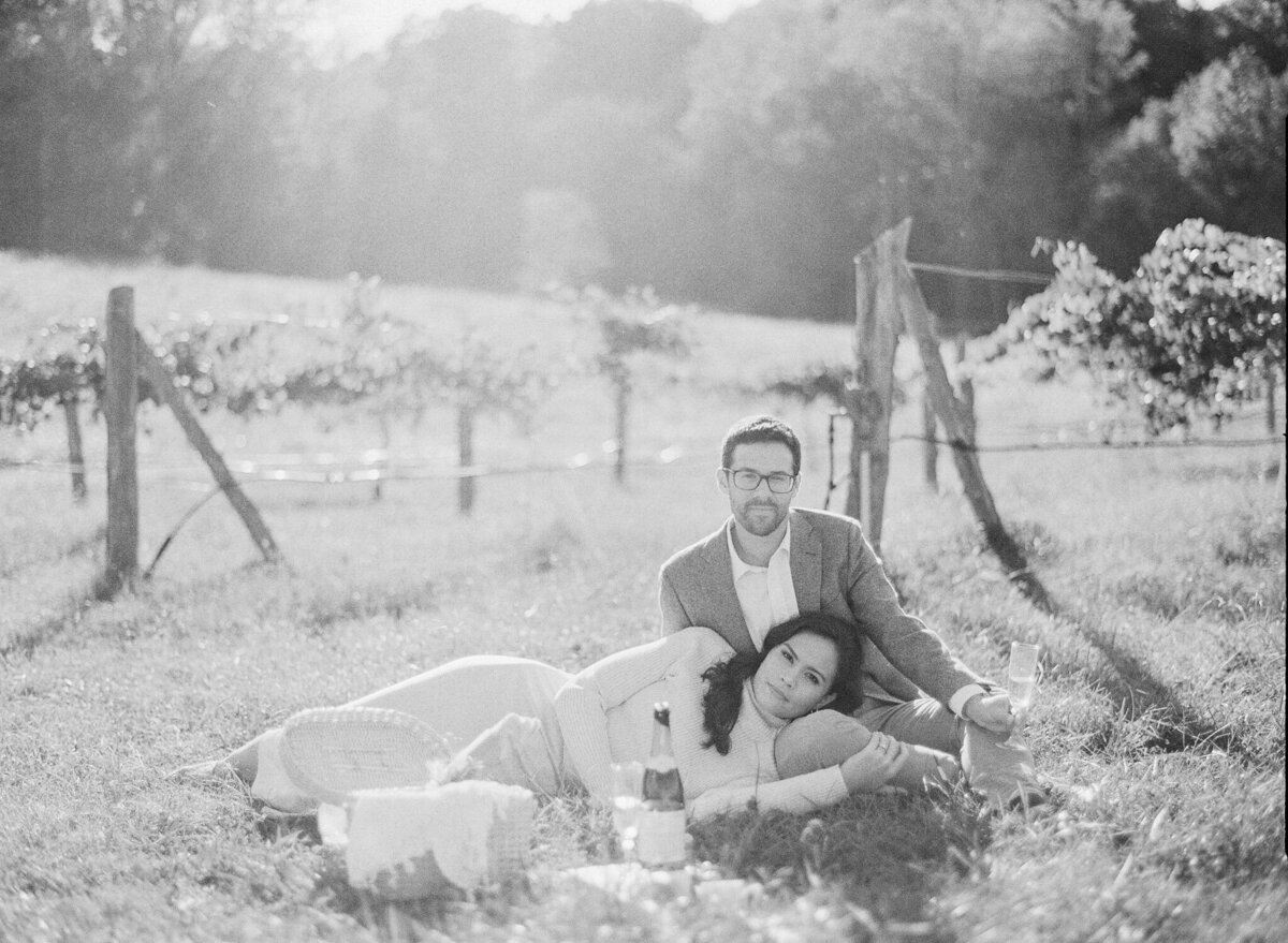 French Vineyard Engagement Photography at The Meadows in Raleigh, NC 18