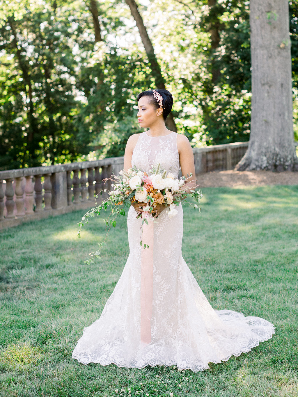 Summer Wedding Tyler Gardens Philadelphia bride with bouquet florist