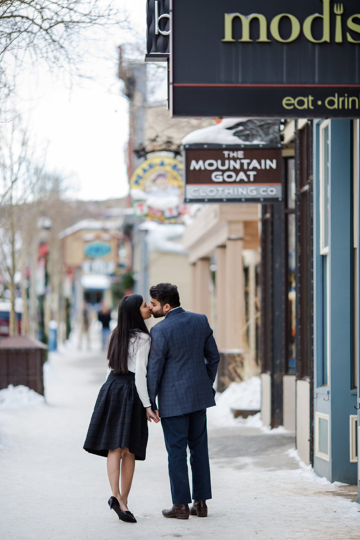 downtown breckenridge engagement photos
