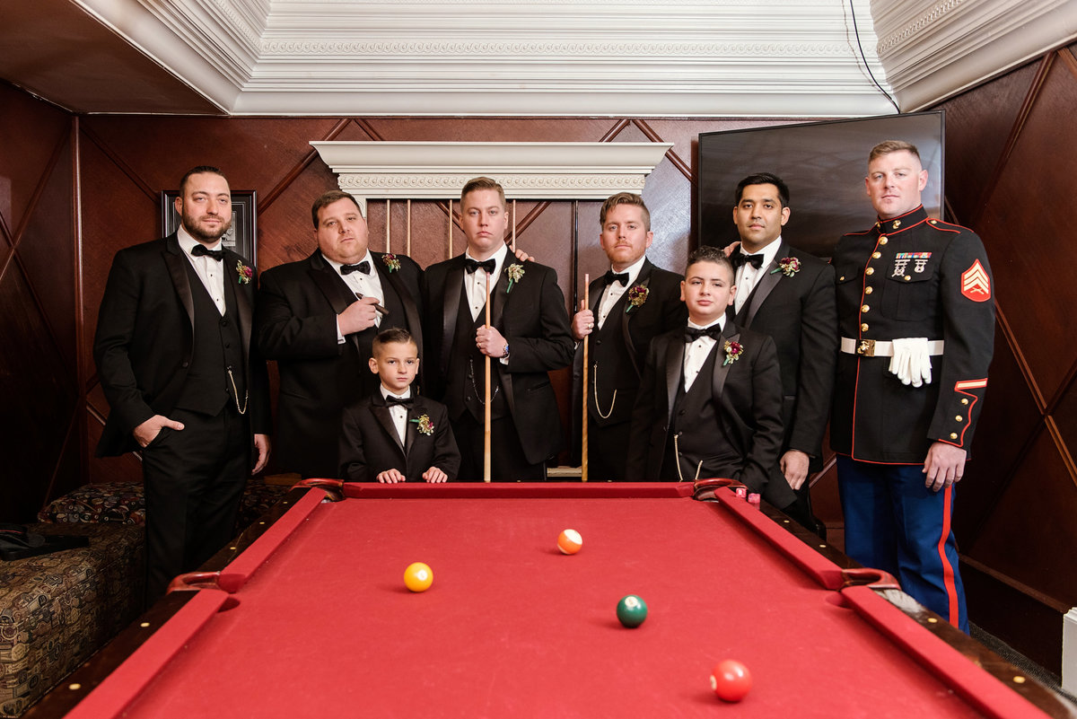 photo of groomsmen in billiards room from wedding at The Carltun