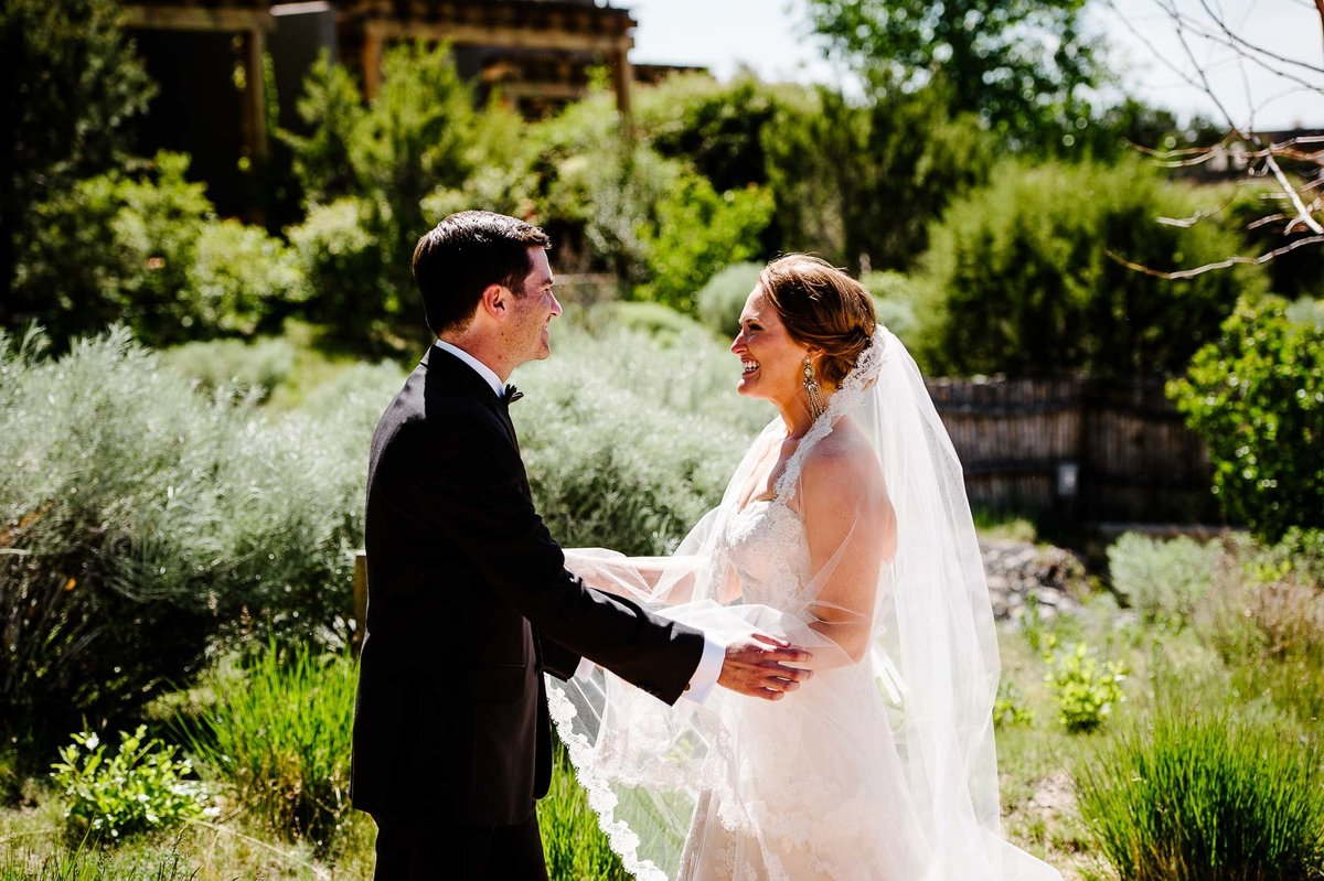bride and groom first look at at Four Seasons Resort Rancho Encantado Santa Fe