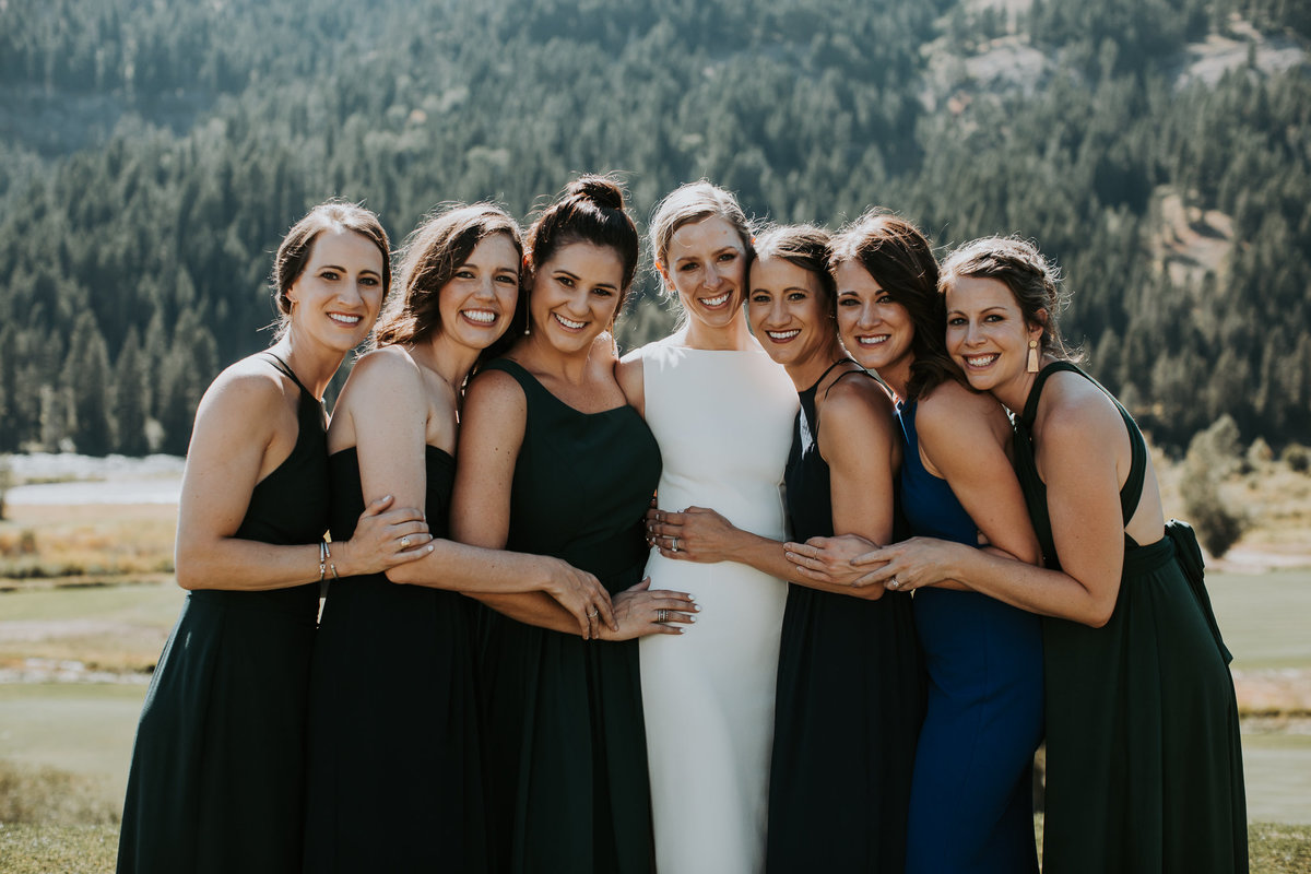 Bridal party smiling for Montana wedding