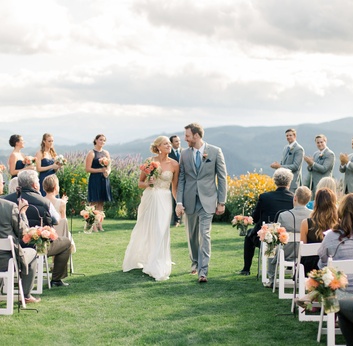 columbia river gorge weddign couple walks down the aisle after wedding ceremony