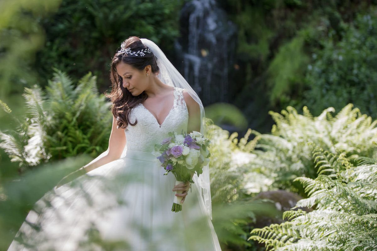 Bride in the stunning gardens at Hestercombe Gardens Somerset
