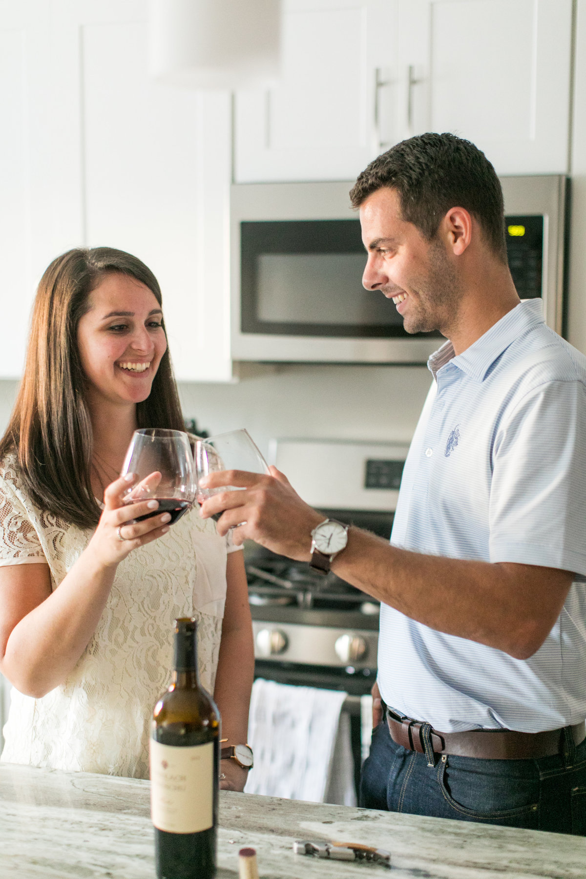 Wine at home engagement session in baltimore