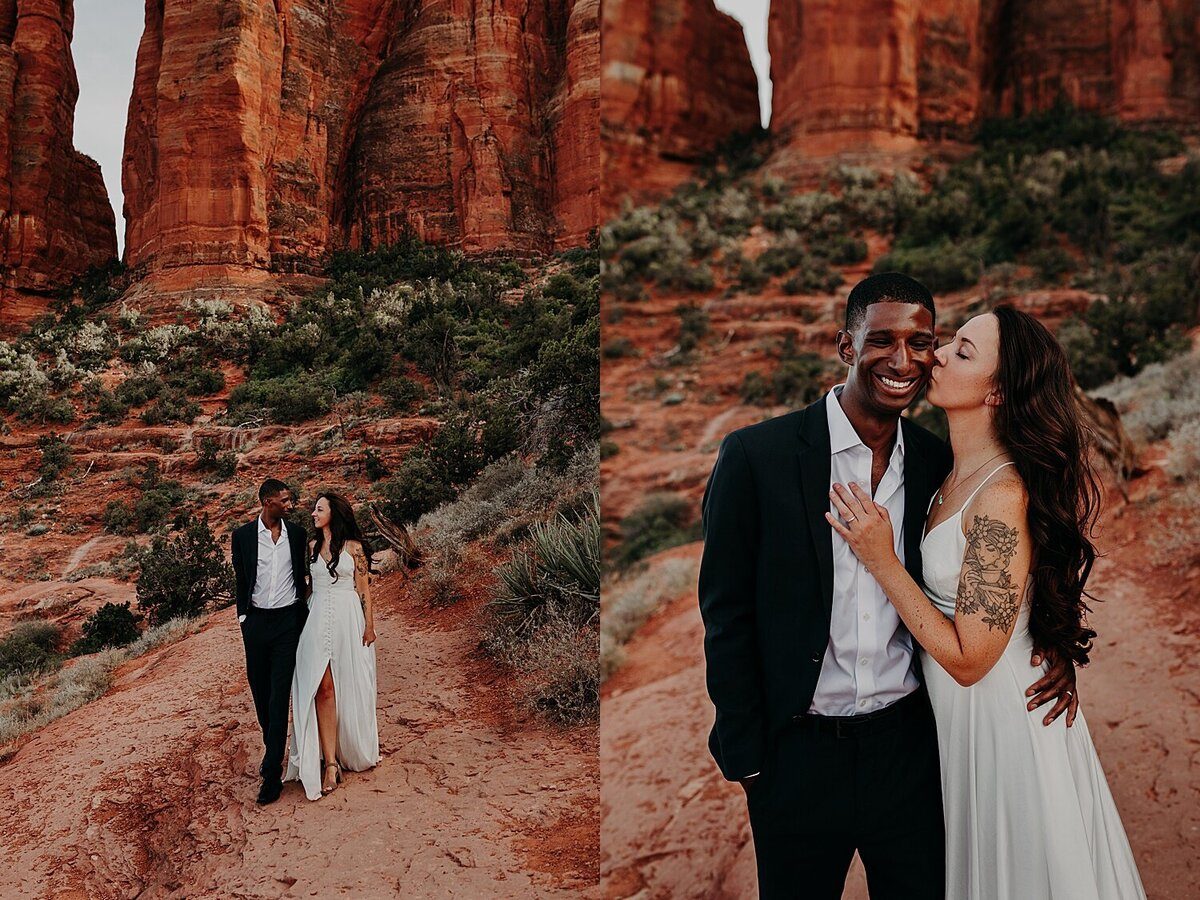 Bride and Groom walk on a hiking trail at Cathedral Rock with her dress flowing in the wind