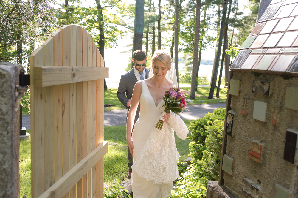 DESTINATION WEDDING IN TRAVERSE CITY WITH KRISTEN AND SCOTT Bride Walking into Ceremony