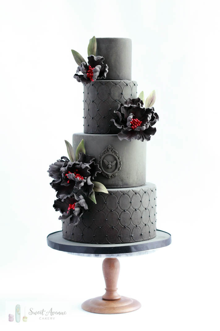 vintage black wedding cake with black sugar flowers, Hamilton ON wedding cakes