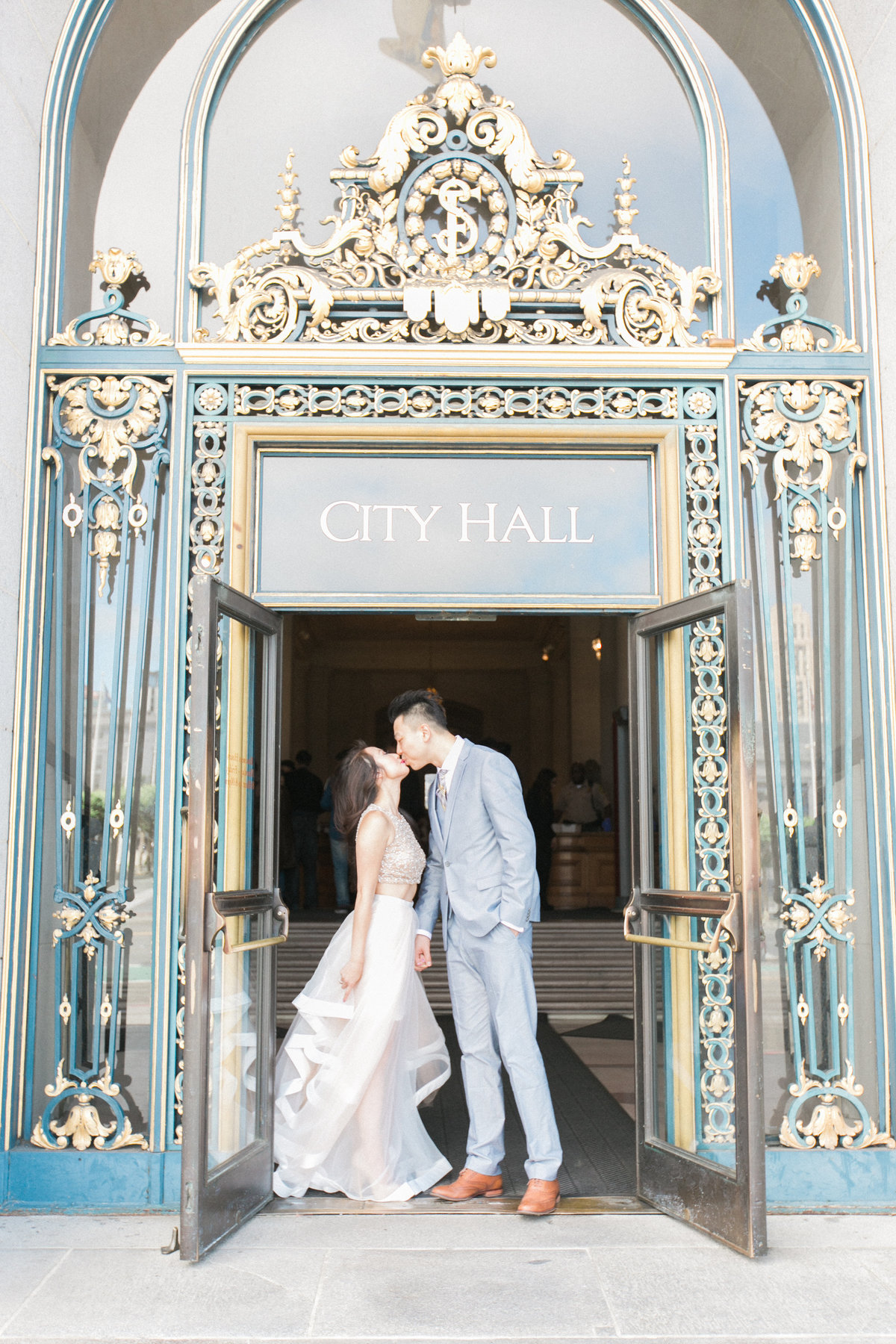 Romantic Moment SF City Hall Wedding