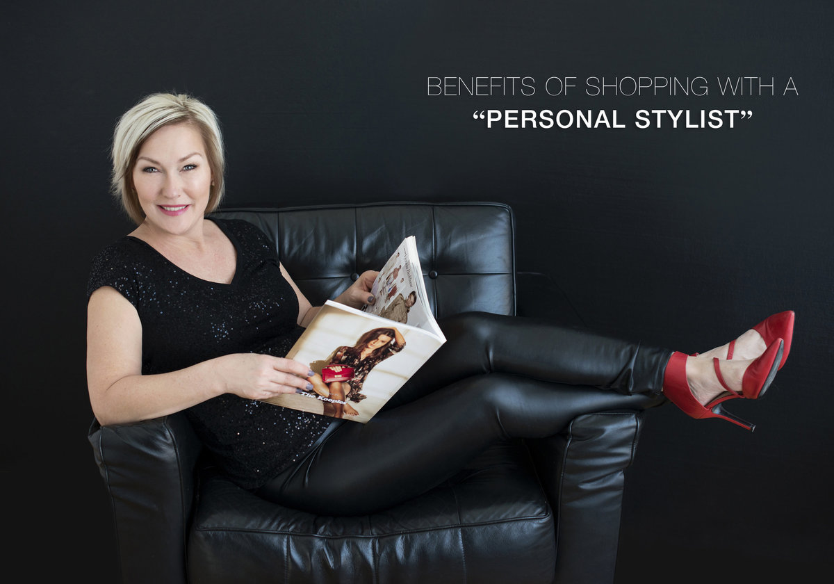 personal branding of hair stylist reading magazine sitting on a black  couch professional with red  high heel shoes and  leather pants looks like a headshot