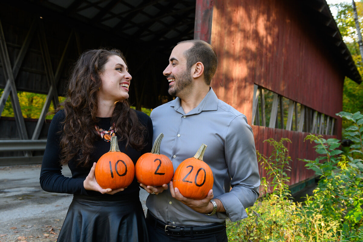 wedding save the date with pumpkins