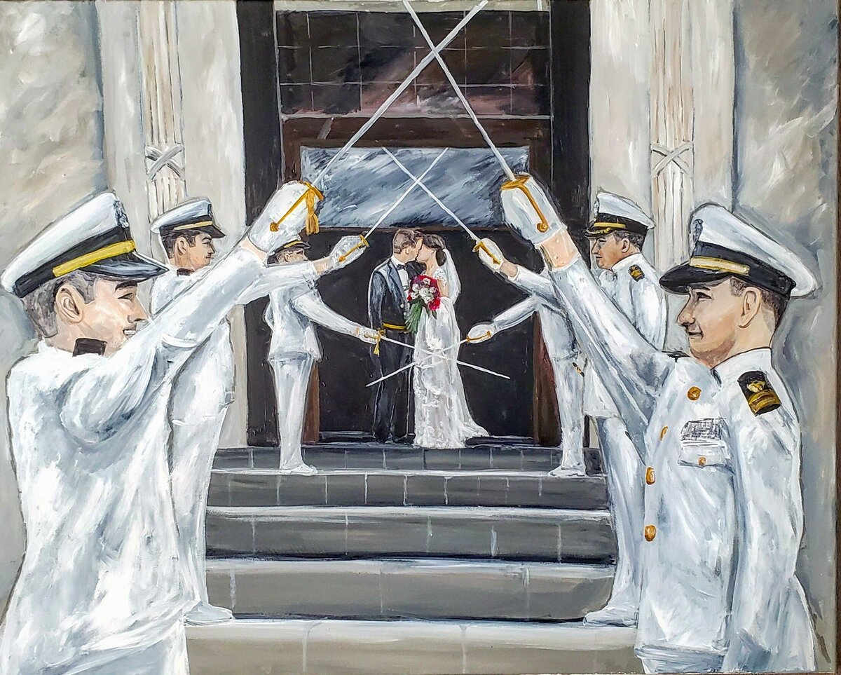 Live painting of a sword arch wedding ceremony exit at the US Naval Academy in Annapolis Maryland
