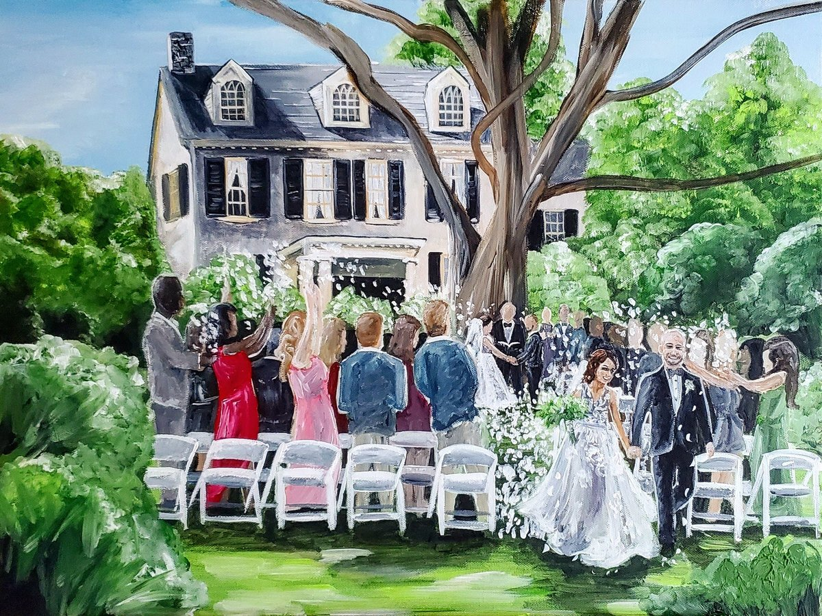 Live painting of a garden wedding ceremony exit at Rust Manor House in Leesburg Virginia