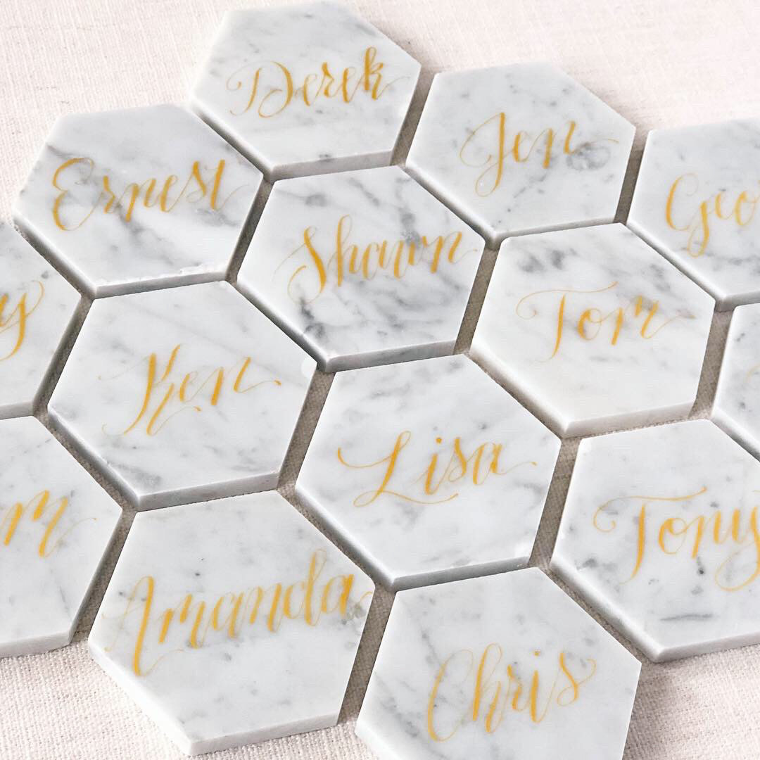 Gold ink on marble hexagons
