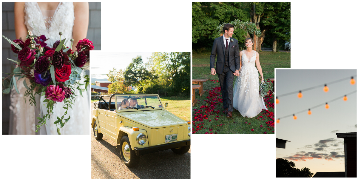 Fall New England wedding featuring jewel tones and vintage cars