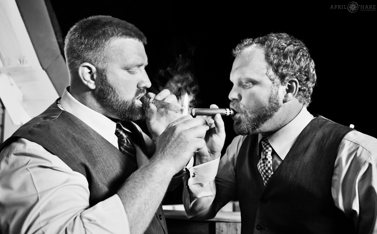 Cigar Smoking at Wedding Reception at D-Barn in Longmont Colorado