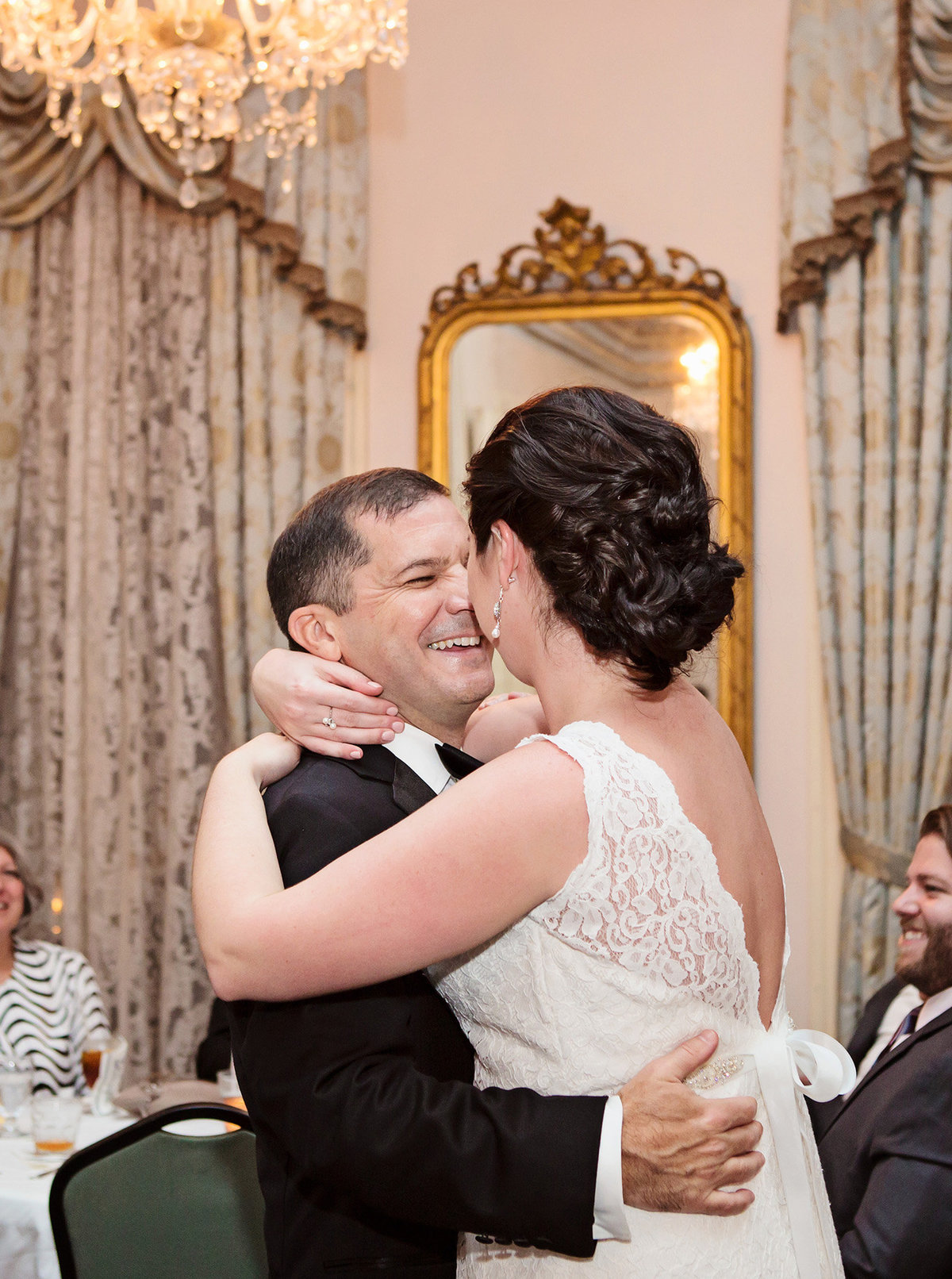 NOLA destination wedding couple first dance at The Columns Hotel
