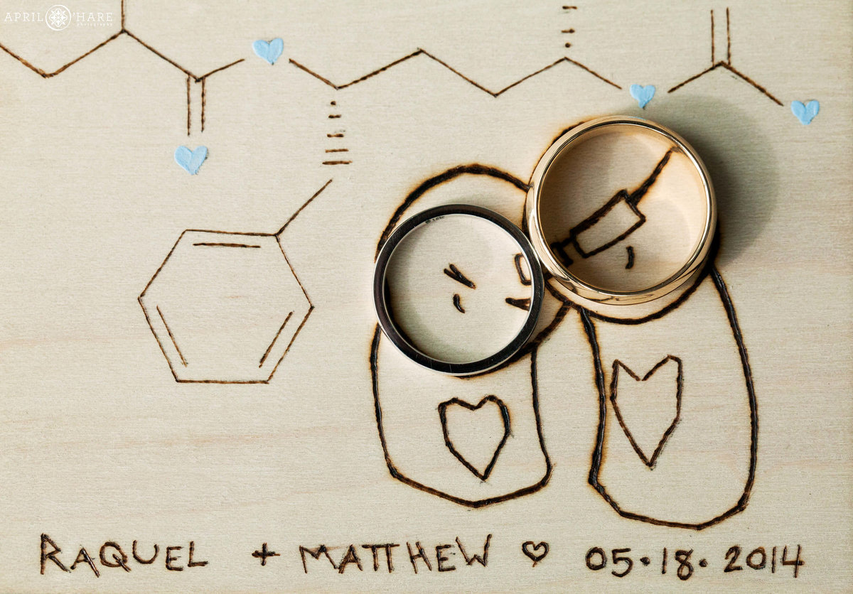 Chemistry Themed Denver CO Wedding with custom etched wood and wedding bands