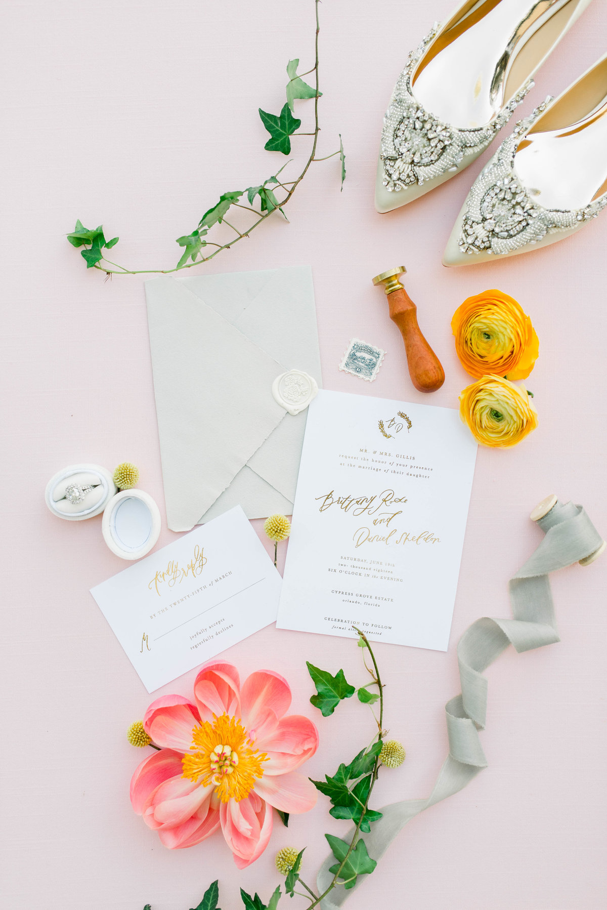 Wedding invitation suite flat lay decoration