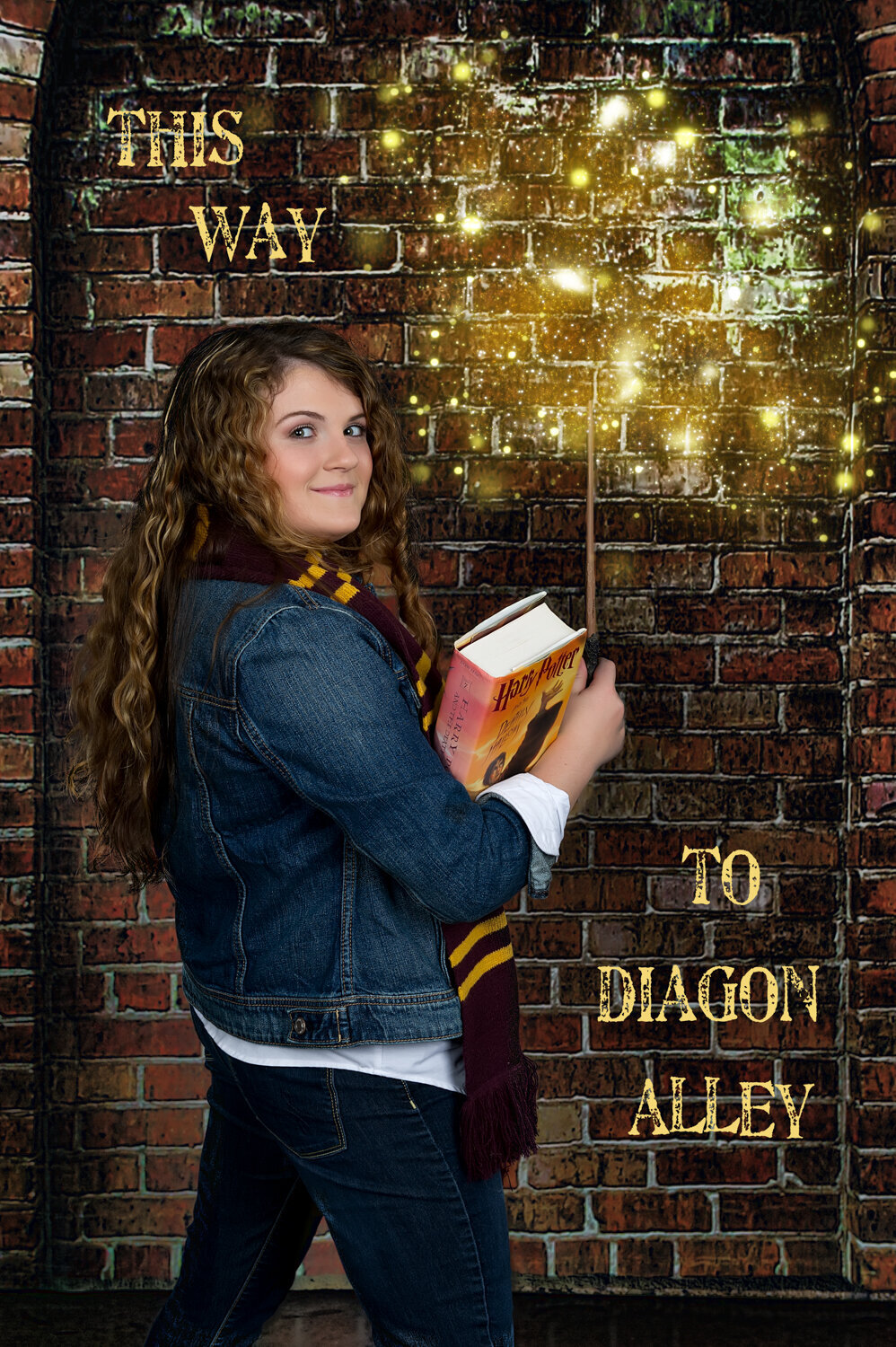 diagon alley senior photo senior girl wand harry potter