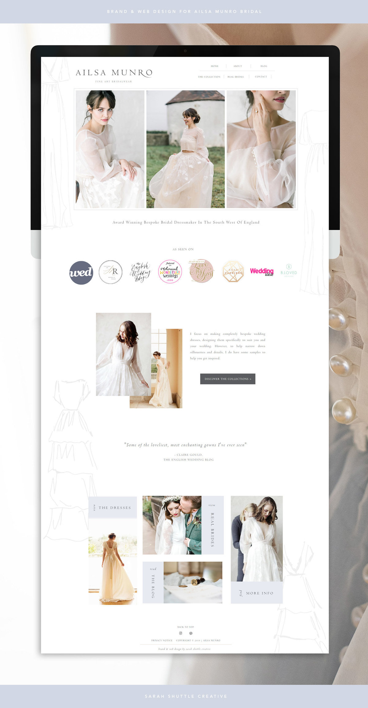 Feminine web design on Showit for wedding dress designer